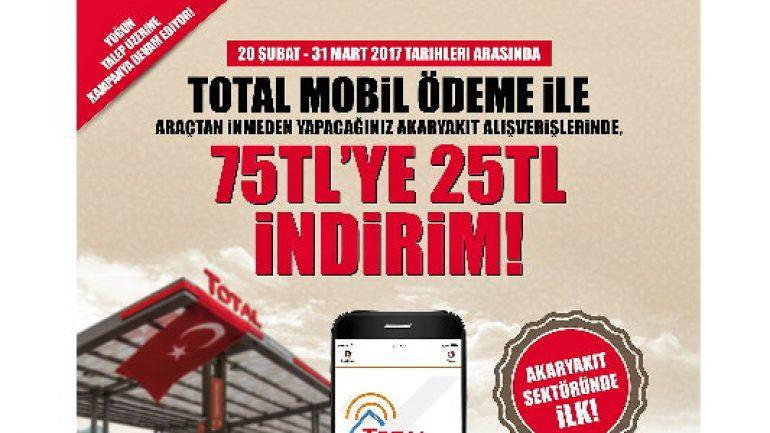 Total'den mobil ödemede 75 TL'ye 25 TL indirim